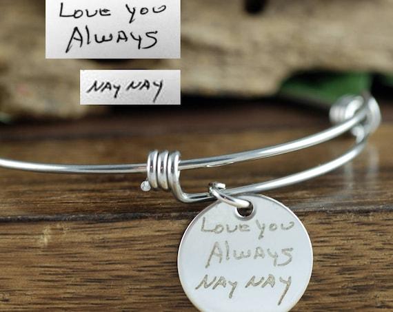 Custom Handwriting Jewelry, Memorial Bracelet, Actual Handwriting Bracelet, Personalized Engraved Bracelet, Sympathy Gift, Loss of Loved One