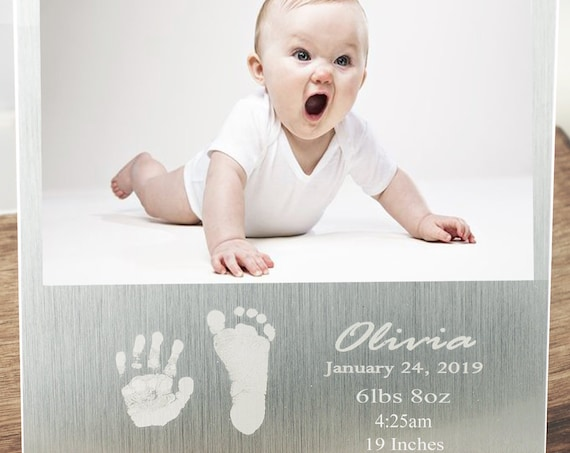 Actual Foot Print, New Baby Picture Frame, Birth Announcement Frame, Baby Stats Gift, Gift for New Mom, New Dad Frame, Mother's Day Gift