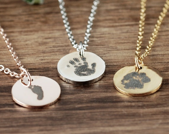 Actual Dog Paw Necklace, Actual Paw Print Necklace, Footprint Jewelry, Dainty Memorial Necklace, Loss of Pet, Custom Engraved Necklace