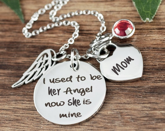 I used to be her angel, Personalized Memorial Necklace, Mom Memorial Gift, In Loving Memory of Mom, Bereavement Jewelry, Sympathy Gift