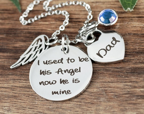 Personalized Memorial Necklace, Dad Memorial Gift, I used to be his angel, In Loving Memory of Dad, Bereavement Jewelry, Loss of Father