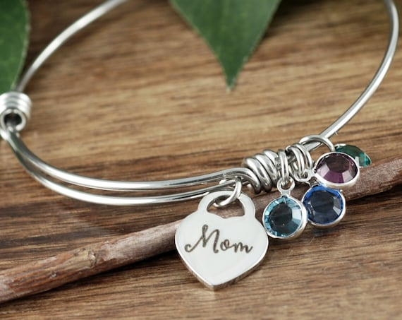 Mother's Bracelet, Personalized Engraved Bangle Bracelet, Mom Bracelet,  Gift for Mom, Wife, Engraved Jewelry, Birthstone Jewelry for Mom