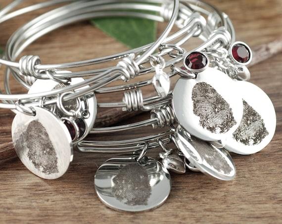 Memorial Gifts, Fingerprint Bracelet, Custom Fingerprint Jewelry, Engraved Bracelet, Gift for her, Loved Ones Fingerprint, Meaningful Gifts
