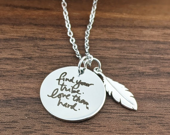 Silver Feather Necklace, Find your Tribe Love them Hard, Bridesmaid Gifts, Friendship Necklace, Engraved Necklace, Bridal Party Gift Idea