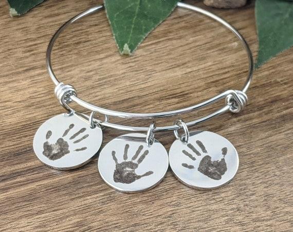 Child's Hand print Bracelet, Actual Kids Hand print Necklace, Your Child's Hand-print, Personalized Hand Print Bracelet, Gift for her