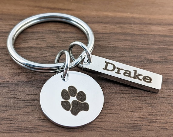 Actual Pet Paw Key chain, Pet Paw Jewelry, Your Pets Actual Paw Print, Custom Keychain, Pet Memorial Gift, Pet Lover Gift, Loss of Pet Gift