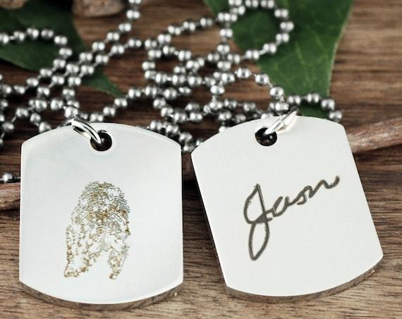 Actual Fingerprint Necklace, Fingerprint Gift for Men, Dog Tag Necklace, Memorial Necklace for Him, Fingerprint Jewelry, Father's Day Gift