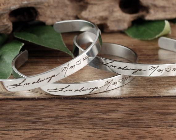 Signature Cuff Bracelet, Handwriting Cuff Bracelet, Engraved Cuff Bracelet, Personalized Gift, Engraved Bracelet, Message Cuff Bracelet