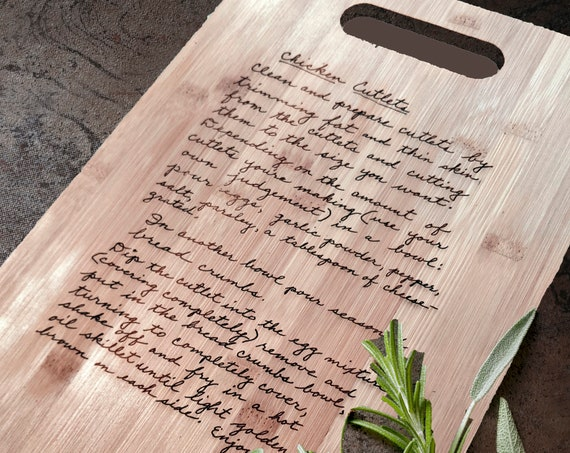 Handwritten Recipe Cutting Board, Mother's Day, Engraved Recipe, Grandma's Handwriting, Gift for Mom, Personalized Cutting Board