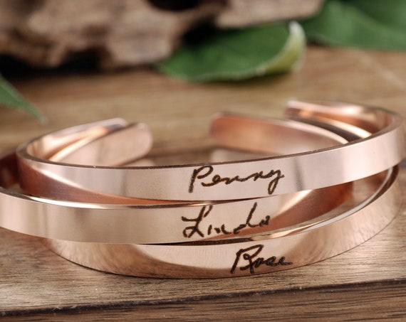 Rose Gold Signature Bracelet, Handwriting Cuff Bracelet, Engraved Bracelet, Personalized Gift, Engraved Bracelet, Memorial Cuff Bracelet