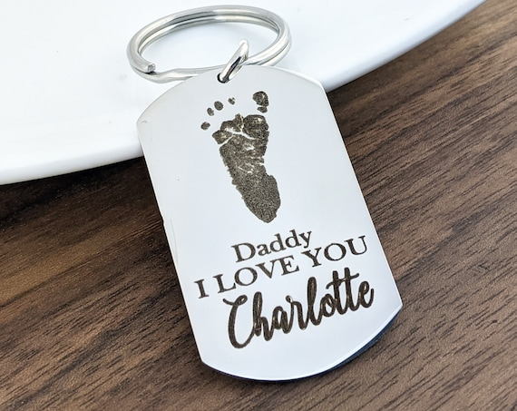 Fathers Day Gift, Gift for Daddy, Personalized Foot Print Keychain, Footprint Keychain, Gift for Dad, Husband, Laser Engraved Keychain,