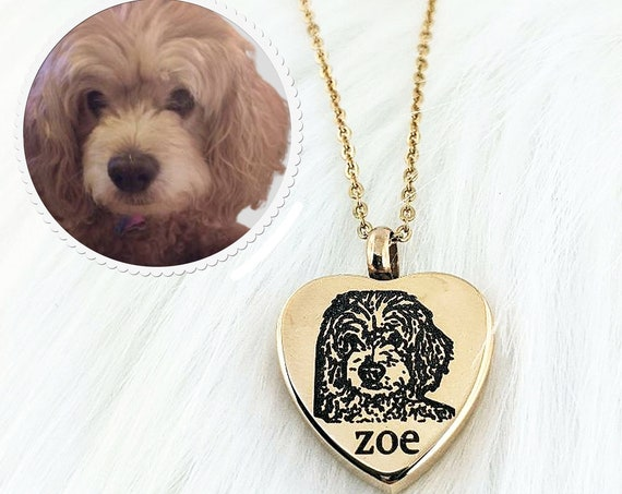 Pet Memorial Necklace for Ashes, Cremation Necklace, Pet Portrait Necklace, Pet Photo Memorial Necklace, Dog Memorial Necklace with picture