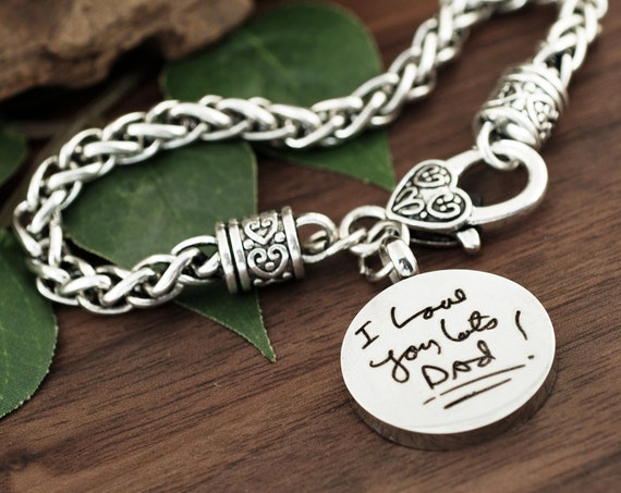 Actual Handwriting Bracelet, Silver Antique Bracelet, Personalized Memorial Bracelet, Handwriting Jewelry, Loss of Loved One, Keepsake Gift