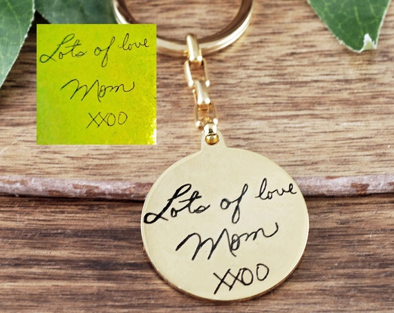 Memorial Gift, Engraved Keychain, Personalized Keychain, Actual Handwriting Keychain, Signature Jewelry, Birthday Gift Ideas