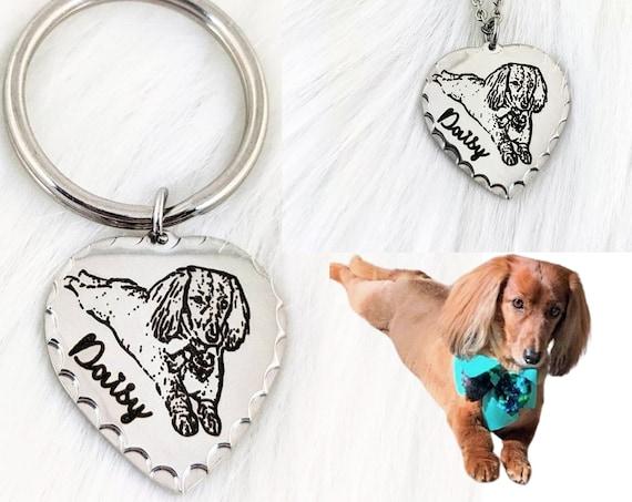 Photo Engraved Photo Keychain - Pet Portrait Necklace - Pet Photo Keychain - Custom Dog Portrait Necklace - Pet Lover Gift - Dog Lover Gift