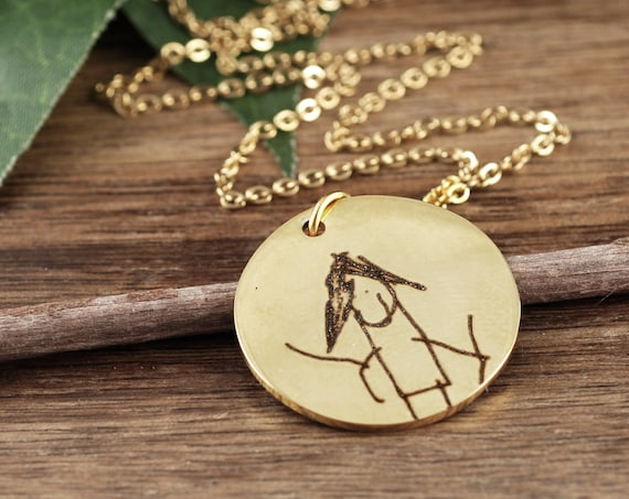 Artwork Jewelry, Mom Necklace, Kids Drawing Necklace, Children Art Jewelry, Actual Kids Drawing, Children Artwork Necklace, Gift for Mom