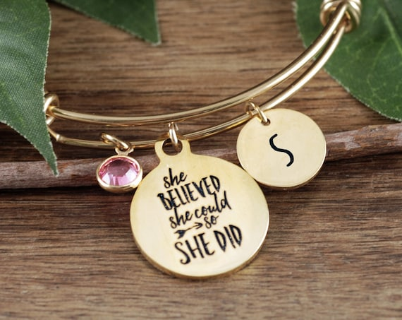 Gold She believed She could so She did, Inspirational Bracelet for Girls, Empowerment Bangle Bracelet, Jewelry for Women, Motivational Gift