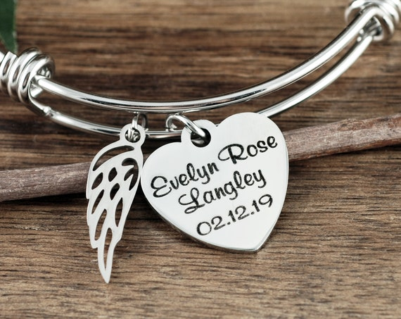 Personalized Memorial Bracelet, Memorial Gift, Sympathy Gift for Her, Remembrance Jewelry, Loss of Loved One, Silver Angel Wing Bracelet