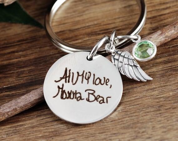 Handwriting Keychain, Handwritten, Memorial Gift, Gifts for Her, Personalized Gift,  Custom Keychain, Handwriting Gift, Handwritten Gifts