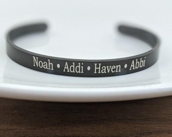Black Cuff, Name Bracelet, Custom Name Bracelet, Engraved Cuff Bracelet, Birthday Gift for Dad