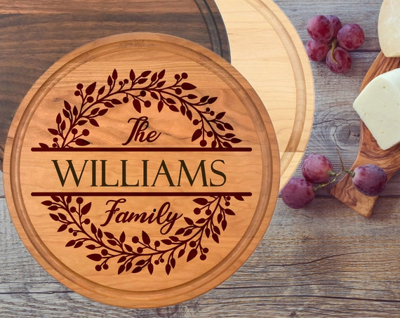 Personalized Round Cutting Board, Custom Round Cutting Board, Engraved Cutting Board, Housewarming Gifts, Engraved Gift