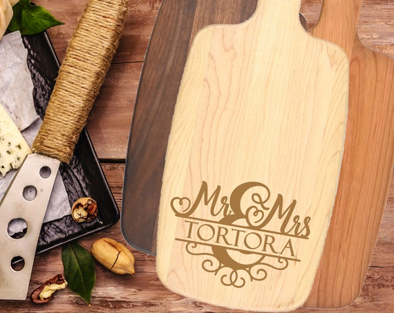 Mr and Mrs Gifts, Personalized Cutting Board, Personalized Engraved Cheese Board - Wedding, Anniversary, Housewarming Gift