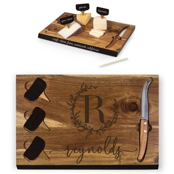 Custom Cutting Board Cheese and Bread Serving Tray Board with Tools, Personalized Cheese Board & Tools Set