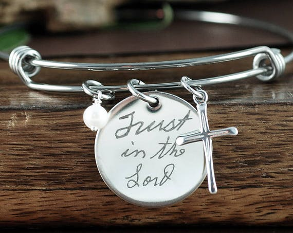 Actual Handwriting Bracelet, Custom Handwriting Bracelet, Personalized Engraved Bracelet, Gift for Mom, Wife, Custom Engraved Jewelry