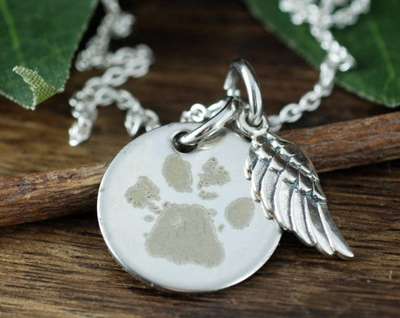 Custom Paw print Jewelry, Actual Paw Print Necklace, Actual Pet Paw, Engraved Necklace With Angel Wings, Pet Memorial Jewelry, Loss of Pet