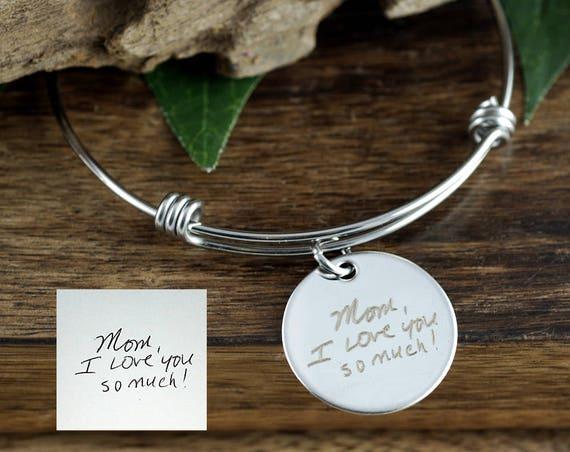 Custom Handwriting Jewelry, Actual Handwriting Bracelet, Personalized Engraved Bracelet, Gift for Mom, Wife, Custom Engraved Bangle