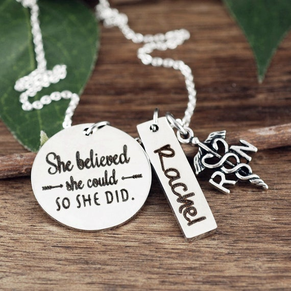 She Believed She Could So She Did, Graduation Necklace, Registered Nurse, Personalized, RN Graduation, RN Registered Nurse,Gift for Graduate