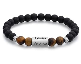 Personalized Men's Bracelet, Name Bracelet, Personalized Beaded Bracelet, Custom Engraved 4 Names, Bracelet for Men, Gift for Husband