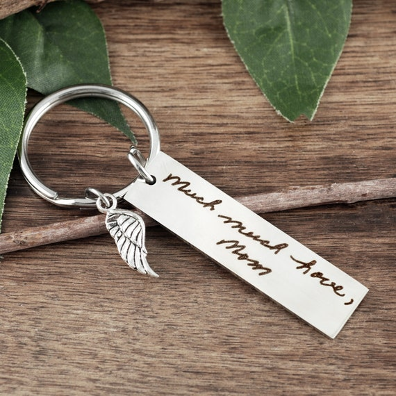 Memorial Jewelry, Memorial Gift, Handwriting Keychain, Engraved Memorial Keychain, Actual Handwriting, Personalized Engraved Keychain