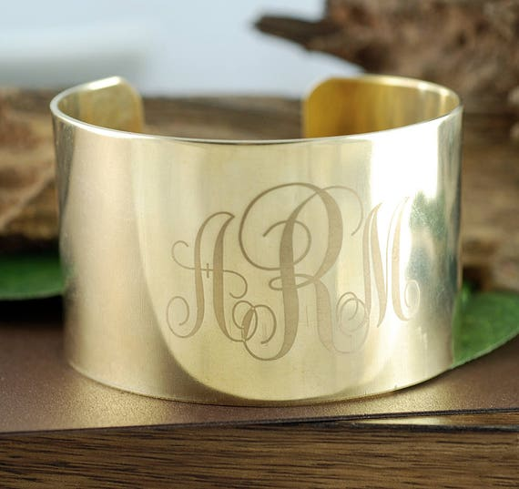 Monogram Cuff Bangle, Personalized with Initials, Large Cuff Bangle with Engraved Initials, Gift for Her, Engraved Cuff Bracelet