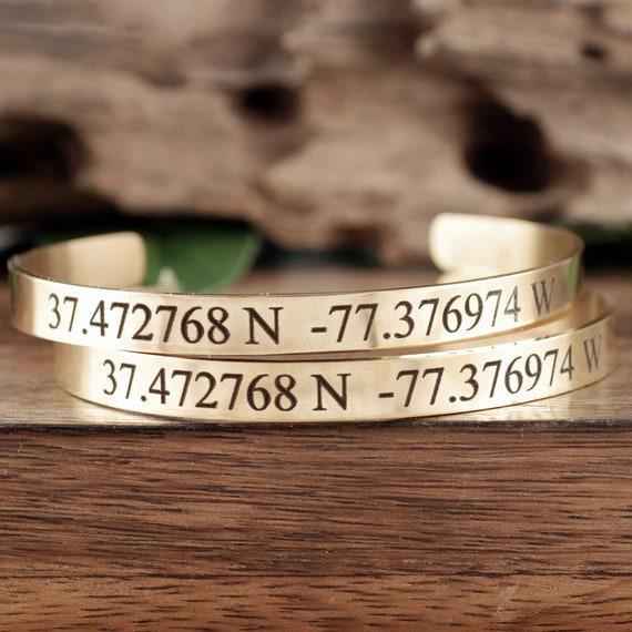Gold Coordinate Bracelet, Gold Engraved Cuff Bracelet, Personalized Cuff Bracelet, Personalized Gift, Engraved Bracelet, Coordinate Jewelry