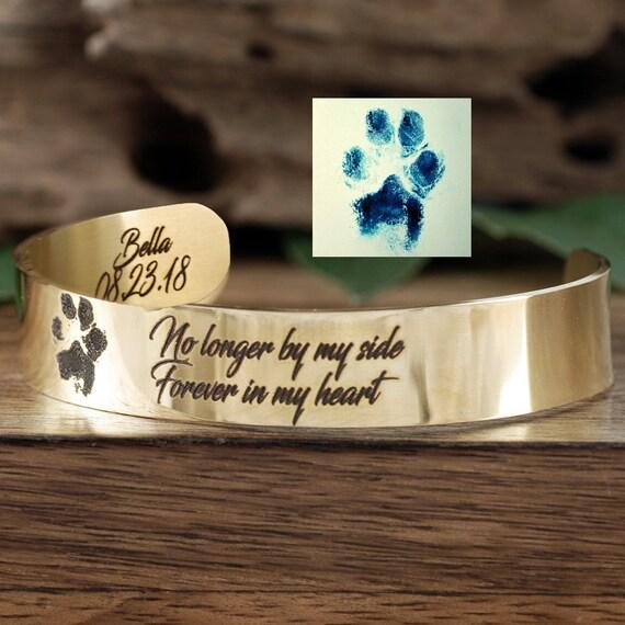 Pet Memorial Gift, Actual Paw Print Cuff Bracelet, Fingerprint Jewelry, Memorial Bracelet, Hand Print, Foot Print, Actual Pet Paw Bracelet