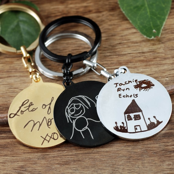 Engraved Actual Handwriting Keychain, Personalized Keychain, Handwriting Keychain, Signature Jewelry, Christmas Gifts, Kids Artwork Keychain