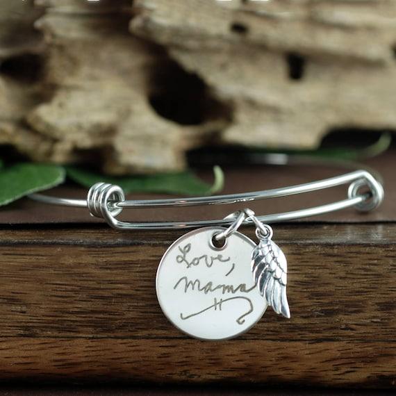 Actual Handwriting Memorial Bracelet, Custom Handwriting Bracelet, Personalized Engraved Bracelet, Gift for Mom, Wife, Memorial Jewelry