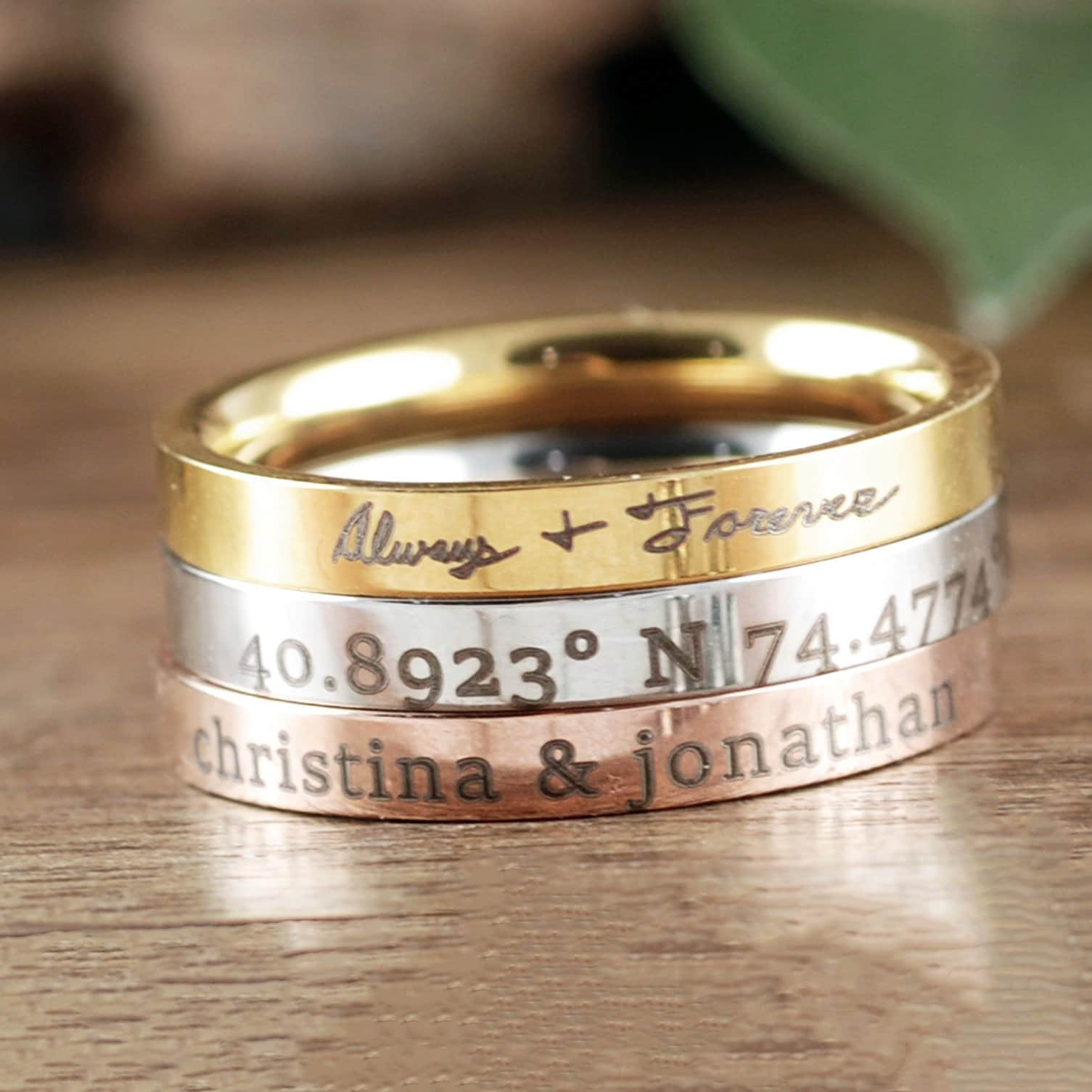 e3b295132f Personalized Stacking Rings, Engraved Rings, Women's Band ...