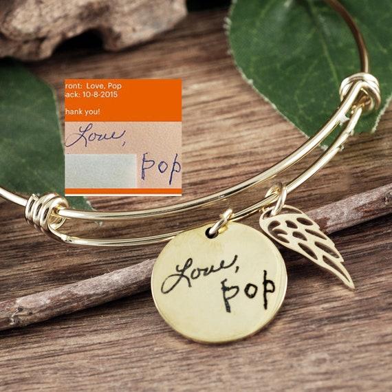 Gold Handwriting Memorial Jewelry, Memorial Bracelet, Bereavement Bracelet, Actual Handwriting Bracelet, Sympathy Gift, Loss of Loved One