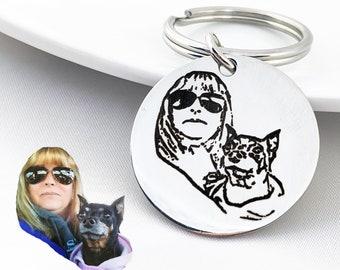 Pet Portrait Keychain, Pet Photo Keychain, Custom Dog Portrait Keychain, Pet Photo Keychain, Custom Pet Photo Keychain
