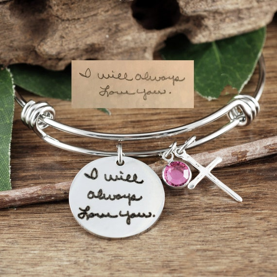 Personalized Engraved Bangle Bracelet, Actual Handwriting Bracelet, Custom Handwriting Bracelet, Gift for Mom, Wife, Custom Engraved Jewelry
