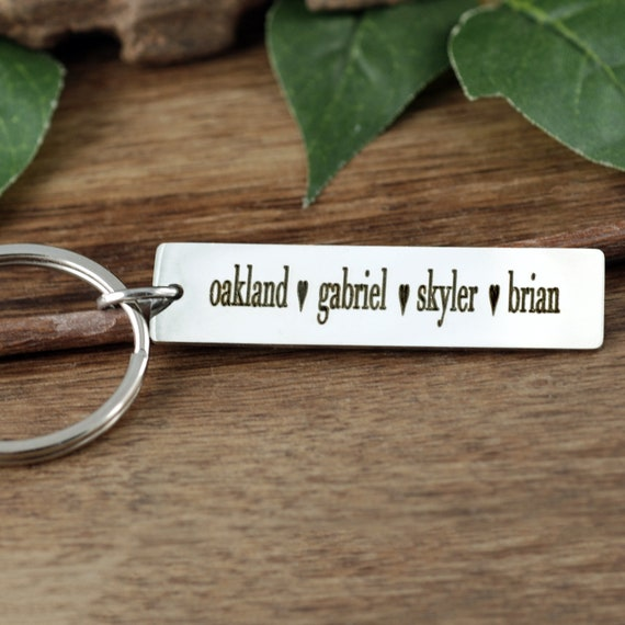 Engraved Keychain, Keychain For mom, Keychain for Dad,  Kids Names on Keychain, Personalized Keychain, Personalized Gift for Mom, Dad