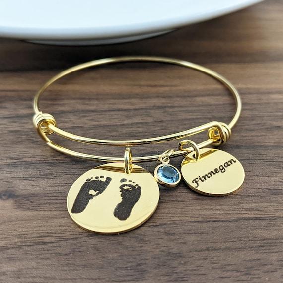 Actual Footprint Bracelet, Gift for Mom, Rose Gold Engraved Bracelet, Baby Feet Bracelet, Babies Footprint bracelet, Engraved Jewelry