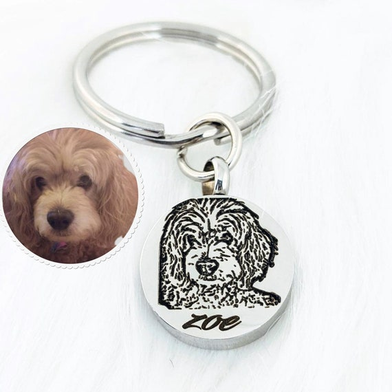 Pet Memorial Keychain for Ashes, Cremation Keychain, Pet Portrait Keychain, Pet Photo Memorial Keychain, Dog Memorial Keychain with picture