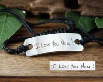 Actual Handwriting Bracelet, Engraved Handwriting Bracelet, Gift for Mom, Custom Engraved Bracelet, Personalized Gift, Mother's Day Gift,