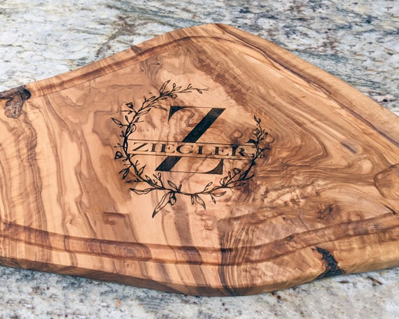 Personalized Olive Wood Cutting Board, Cheese Board, Chopping Board, Bread Board, Rustic Home Decor