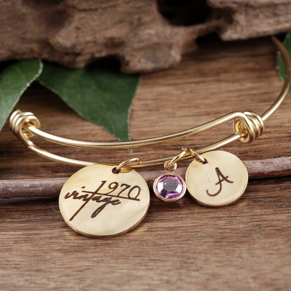 50th birthday gift for women, Gold Personalized Bracelet, 60th Birthday Gift, Vintage 1970, Best Friend Gift, Gift for Sister