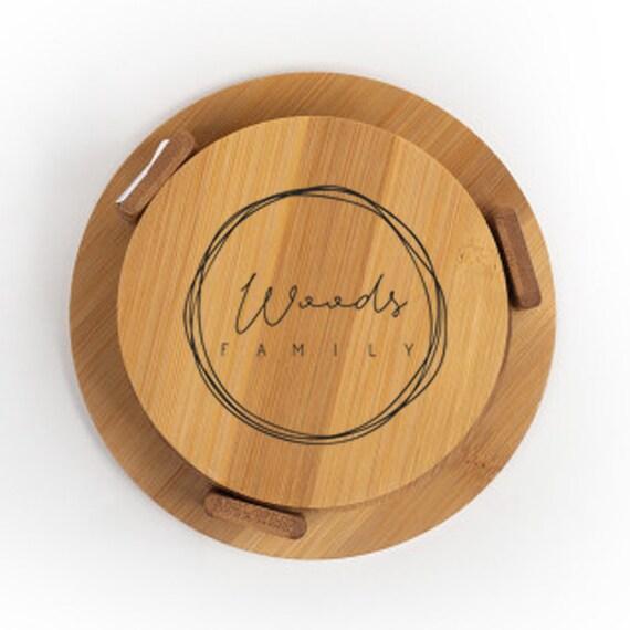 Personalized Coasters Set, Set of 4, Custom Family Name Coasters, Custom Coasters, Wedding Gift, Anniversary Gift, Bamboo Wood Coasters