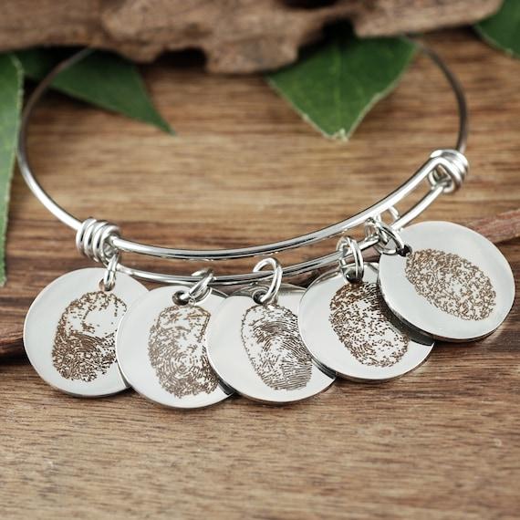 Fingerprint Jewelry, Engraved Bracelet, Memorial Gifts, Fingerprint Bracelet, Custom Gift for her, Loved Ones Fingerprint, Meaningful Gifts